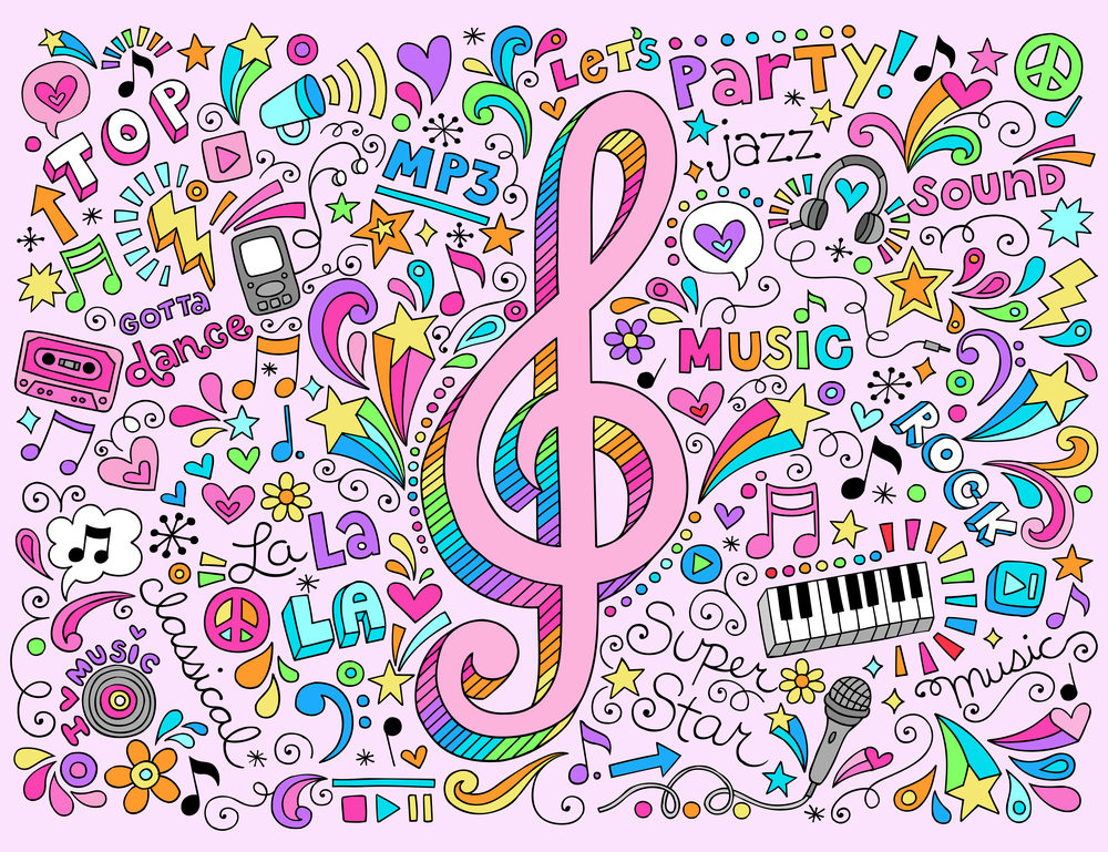 Music Notes G Clef Groovy Doodles Vector Illustration Hand-Drawn