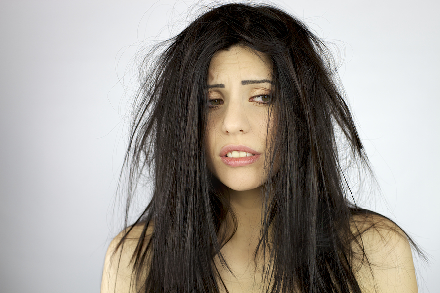 Woman Desperate About Very Bad Hair Day